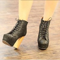 Sexy Womens Boots US Size5-8 LaceUp Shoes Thick High Heels Platform Ankle Bootie
