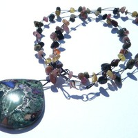 Green Agate And Tourmeline Chip Necklace