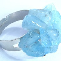 Aquamarine Chip Cluster Ring