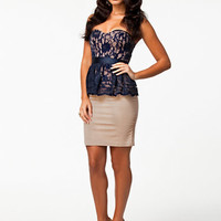 Peplum Lace Pencil Dress, Elise Ryan