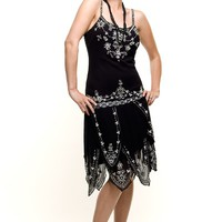 Roaring 1920s Black Beaded Flapper Gatsby Dress - Unique Vintage - Prom dresses, retro dresses, retro swimsuits.