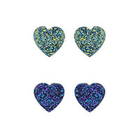 Two Pack Glitter Heart Studs - New In This Week  - New In
