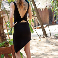 A-symmetric open back black pixie dress, Made to order