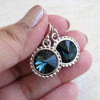 Sapphire Jewelry Swarovski Navy Blue Rivoli Sterling Silver Earrings - Bella E16Navy  Bridesmaids Wedding Jewelry
