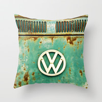 VW Retro Throw Pillow by Alice Gosling