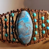 AquaTerra Turquoise Wire Wrapped Copper Bracelet by SoulfulStuff