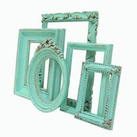 Picture Frames - Picture Frame - Aqua - Turquoise - Minty - Home Decor - Shabby Chic Picture Frames - Wedding - Nursery - Home