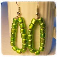 Earrings Lime Green Apple Beaded Oval Dangle Handmade