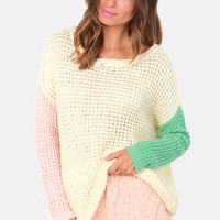 American Pastel-times Color Block Cream Sweater