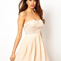 Elise Ryan Bandeau Skater Dress in Rose Applique at asos.com