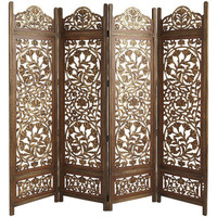 Kamal 4-Panel Screen - Brown