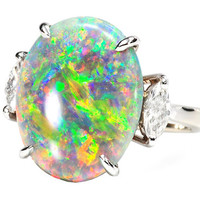 Symphony of Color: Black Opal Diamond Ring - The Three Graces