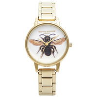 Buy Olivia Burton OB13BL02 Women's Bee Motif Stainless Steel Bracelet Strap Watch, Gold online at John Lewis