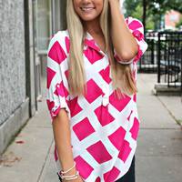 Diamonds in Her Eyes Blouse - Fuchsia