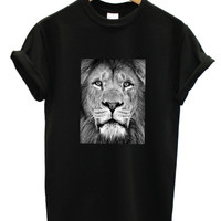 Lion portrait black t shirt