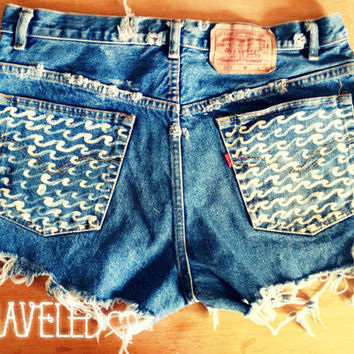 High Waist Levis Denim Shorts with Wave by UnraveledClothing