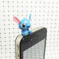 Cute 3D Big Blue Baby Lilo Stitch Anti Dust Plug 3.5mm by MilanDIY