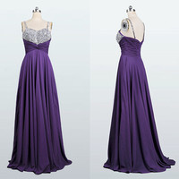 2014 Long Elegant Sparghetti Chiffon Crystals Prom Dress Formal Sweetheart Handmade Bridesmaid Dress Fashion Evening Dress Wedding Dress
