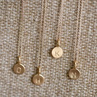 Supermarket: 14k Gold Vermeil Tiny Initial Necklace from Anne Kiel Jewelry
