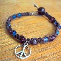 Glass Beaded Hemp Jewelry Peace Sign Bracelet