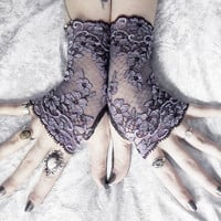 Euphrasie Long Lace Fingerless Gloves - Dark Plum Aubergine & Violet Lavender Floral - Gothic Wedding Fetish Tribal Bellydance Goth Bridal