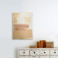 abstract painting - acrylic on canvas - beige brown - metallic gold - fall autumn - minimal modern art