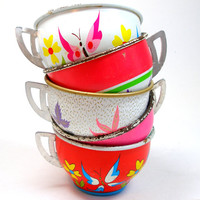50s Tin Toy Tea cups BUTTERFLY graphics on 5 by OldeTymeNotions