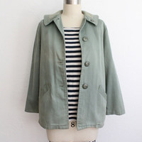 Vintage 60s Mint Green Cotton Jacket // Women's Fall Collared Swing Coat