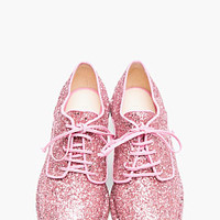 Simone Rocha Pink Glitter Clear-heeled Derbys for women | SSENSE