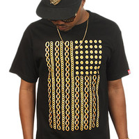 Breezy Excursion Gold Chain Flag Black Tee