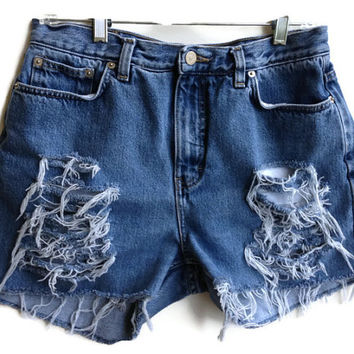 Super Distressed High Waisted Denim Shorts Size 32""