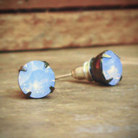 Rhinestone Stud Earrings, Gunmetal, Blue, Opal, Iridescent