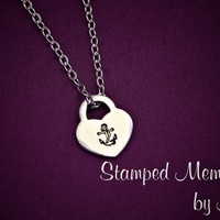 Anchored by Love - Hand Stamped Stainless Steel Heart Lock Necklace - Navy Wife, Girlfriend - Nautical Sailing Jewelry - Simple and Elegant