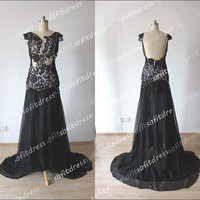 lace prom dresses, black prom dresses, cap sleeves prom dress, black bridesmaid dress, evening dress,  BE0229