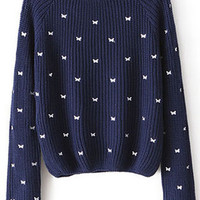ROMWE | Bow-ties Print Blue Jumper, The Latest Street Fashion