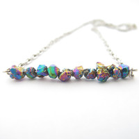 Titanium Nugget Druzy Bar Necklace