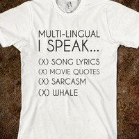 Supermarket: Multi Lingual T-Shirt from Glamfoxx Shirts