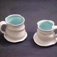 Pair of Turquoise Lined Porcelain Mugs by elizabethcohenpotter