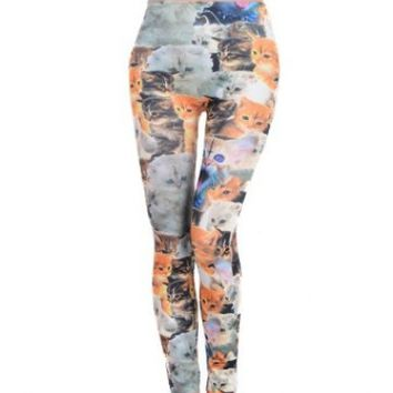 ECOSCO Woman Lady Elastic Waist Cute Cats Lovely Print Ankle Length Footless Pantyhose Skinny Leggings Pants One size:Amazon:Sports & Outdoors