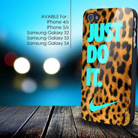 Just Do It, Nike Leopard Tiffany for iphone 5/5s,iphone 4/4s, samsung galaxy s2 I9100,s3 I9300,s4 I9500