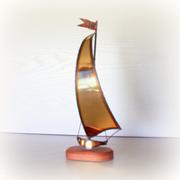 MODERN VINTAGE SAILBOAT / Fabulous Mid Century Modern Art Sculpture / 3D Brass Metal Wire / Signed DeMott / Desk Accessory / Library Decor