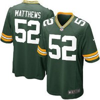 New Nike 2012 NFL Clay Matthews #52 Green Bay Packers Home Game Football Jersey -Men Size L(48)