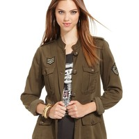 GUESS Jacket, Long-Sleeve Military Pocket - Women - Macy's