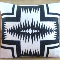 Pillow - Pendleton Wool Fabric - Black White Walking Rock - Native Geometric Tribal