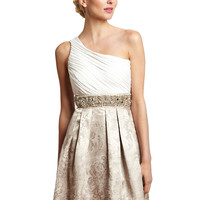 ELIZA J Gold/Ivory One-Shoulder Beaded Waistband Dress