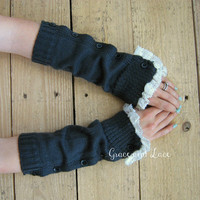 Button Arm Warmers - womens Fingerless Gloves - wrist warmers - lace arm warmers - texting gloves 5 colors