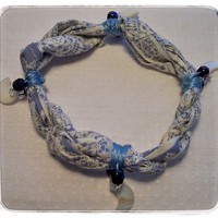 Blue Fabric Bracelet with Moons Bohemian Style Handmade