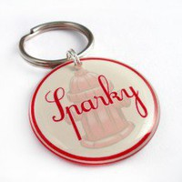 Red Fire Hydrant Pet iD Custom Designer Pet ID - Happy Tags