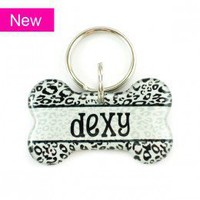 Black & White Leopard Dog Bone Shape Pet ID Tag - Happy Tags