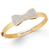 Juicy Couture Bracelet, Gold-Tone Pave Bow Bangle Bracelet - Fashion Jewelry - Jewelry & Watches - Macy's